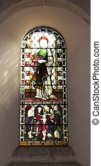stained glass window with light reflection