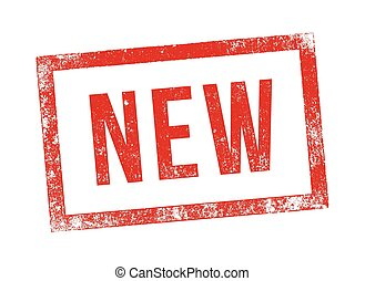 """Vector illustration of the word """"New"""" in red ink stamp"""