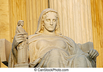 Statue called Contemplation of Justice at US Supreme Court in Washington, DC.