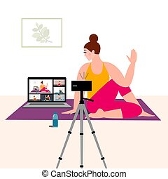 Stay home concept. Online yoga with instructor