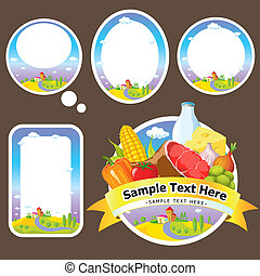 stickers and labels with landscape