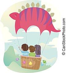 Stickman Kids Stegosaurus Hot Air Balloon