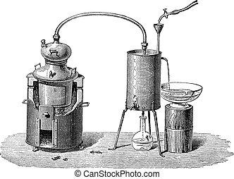 Still or Distillation Apparatus, vintage engraved illustration. Industrial Encyclopedia - E.O. Lami - 1875