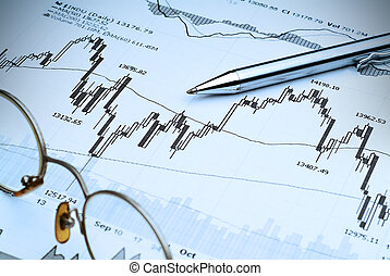 Business image of stock market chart analysis - with blue tint