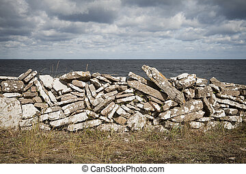 Stone wall by the ocean