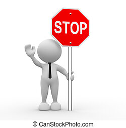 3d people - man, person with a stop sign
