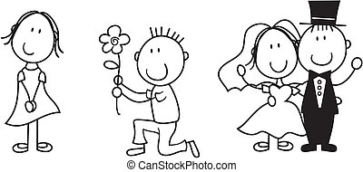 set of isolated couple cartoon, ideal for funny wedding invitation, vector format very easy to edit, individual objects