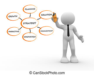 3d people - human character, person with a marker. Conceptual image of strategy. 3d render