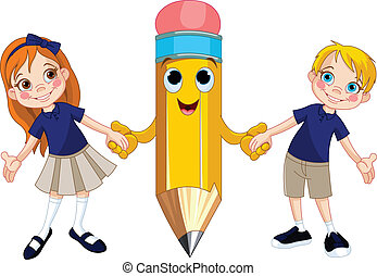 Little girl and boy holding hands of a giant pencil