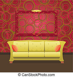 Stylish Modern interior with green sofa and blank frame on the wall, vector illustration
