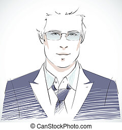 Stylish young businessman portrait wearing coat tie and sunglasses, casual style isolated vector illustration