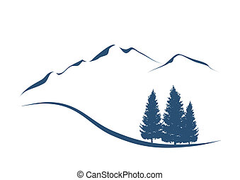 stylized illustration showing an alpine Landscape with mountains and firs