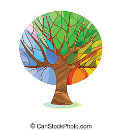 Stylized tree - four seasons