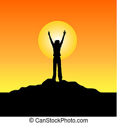 Silhouette of female raising her hands in success!