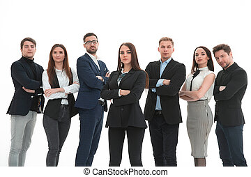 Successful business team with arms up