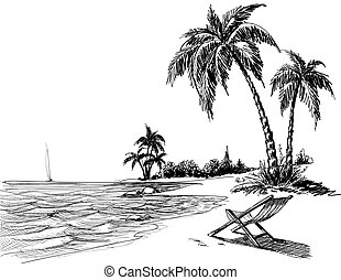 Summer beach pencil drawing