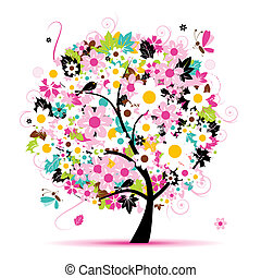 Summer floral tree for your design