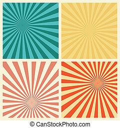 Sunburst Retro Textured Grunge Background Set. Vintage Rays