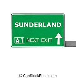 SUNDERLAND road sign isolated on white