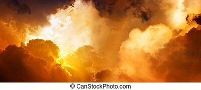 Dramatic impressive background - sunset in heaven