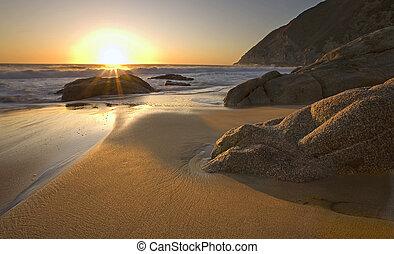 Beautiful sunset on beach near Pacifica, California