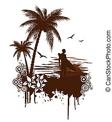 Vector surf grunge with surfer