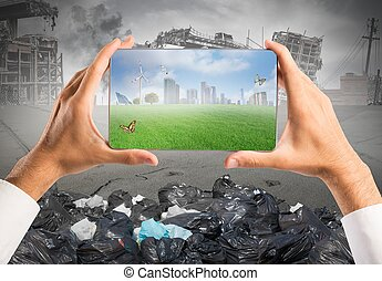 Concept of sustainable development with green vision in a tablet