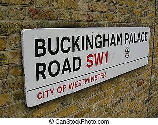 Buckingham Palace Road sign, London.