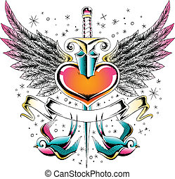 swallow wing heart emblem
