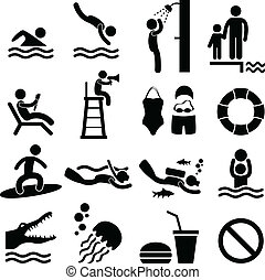 A set of swimming pool and beach pictogram/symbol/sign.
