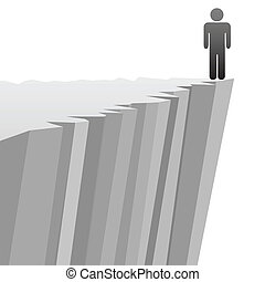 A symbol person stands on a steep cliff edge in danger of falling.