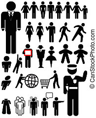 ymbol people silhouettes, a set of various persons: family; couple; walk; business; police officer; group; women; shopping...
