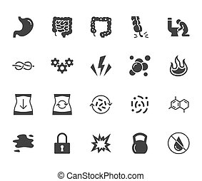 Symptoms of abdominal disease flat glyph icons set. Stomach pain, appendicitis, heartburn, spasm, diarrhea vector illustrations. Signs digestion for digestion. Solid silhouette pixel perfect 64x64.