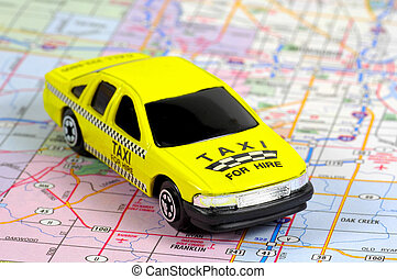 Miniature Taxi on a map