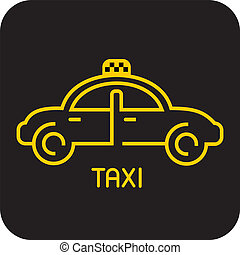 Taxi - isolated vector icon. Yellow car on black background.