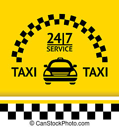 Taxi symbol, and car on the background, vector illustration