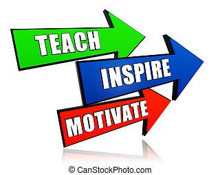 teach, inspire, motivate - text in 3d arrows, education motivation concept words