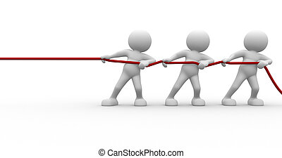 3d people - human character, person pulling a rope. 3d render