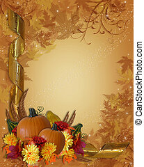 Image and Illustration composition for Halloween, Autumn, Fall or Thanksgiving invitation, border or background with copy space.