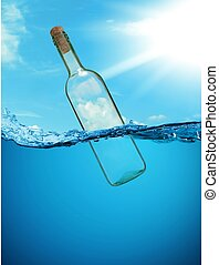 """The concept of """"a bottle with a message."""" without letters."""