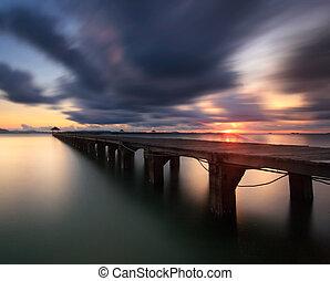The long wooden bridge