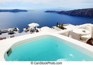 The sea view jacuzzi at luxury hotel, Santorini island, Greece