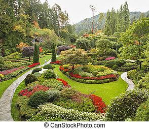 Masterpiece of landscape gardening art - Sunken-garden on island Vancouver