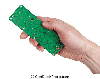 The technician engineer keeps a new green electronic circuit board isolated