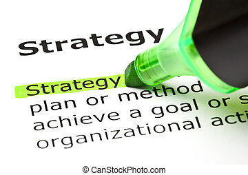 The word 'Strategy' highlighted in green with felt tip pen