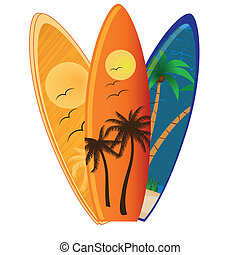 three different surfboards with different textures and colors