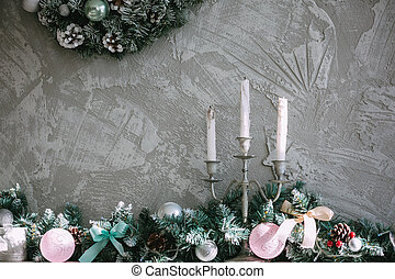 Three white Christmas candles