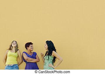 three women talking and having fun