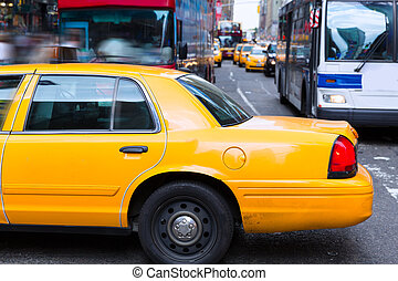 Times Square New York yellow cab daylight