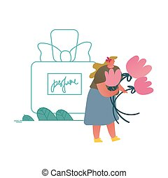 Tiny Perfumer Character Holding Flowers Ingredients for Creating New Perfume Composition. Floral Fragrance Toilet Water, Aroma Cosmetics Perfumery Production Cartoon Flat Vector Illustration, Line Art